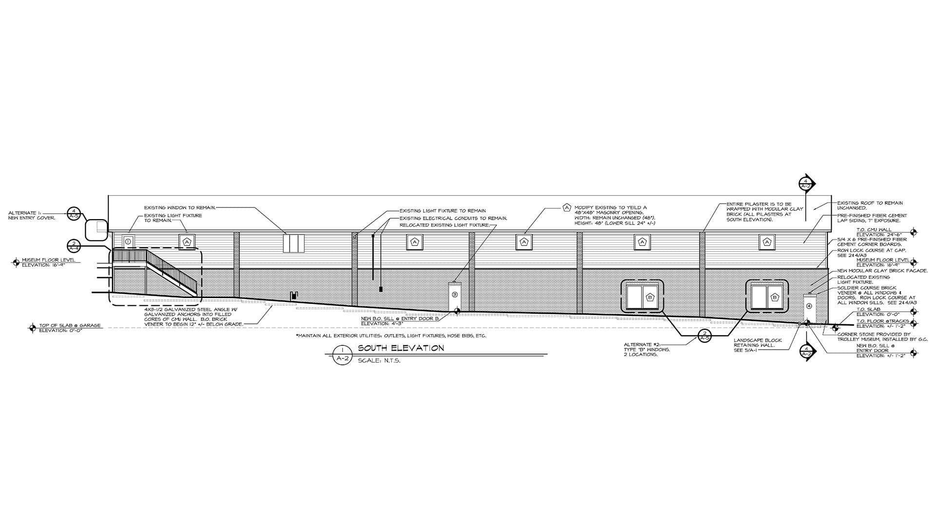 Elevation Drawing of the Kingston Trolley Museum