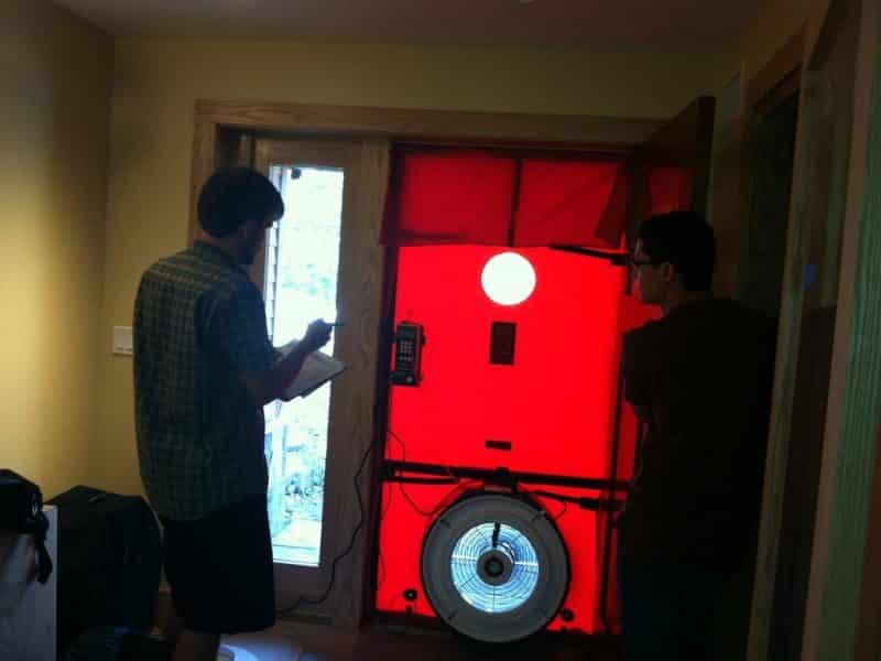 "Pic of blower door test being performed to validate that the building is air tight and deserving of its ""green"" status."