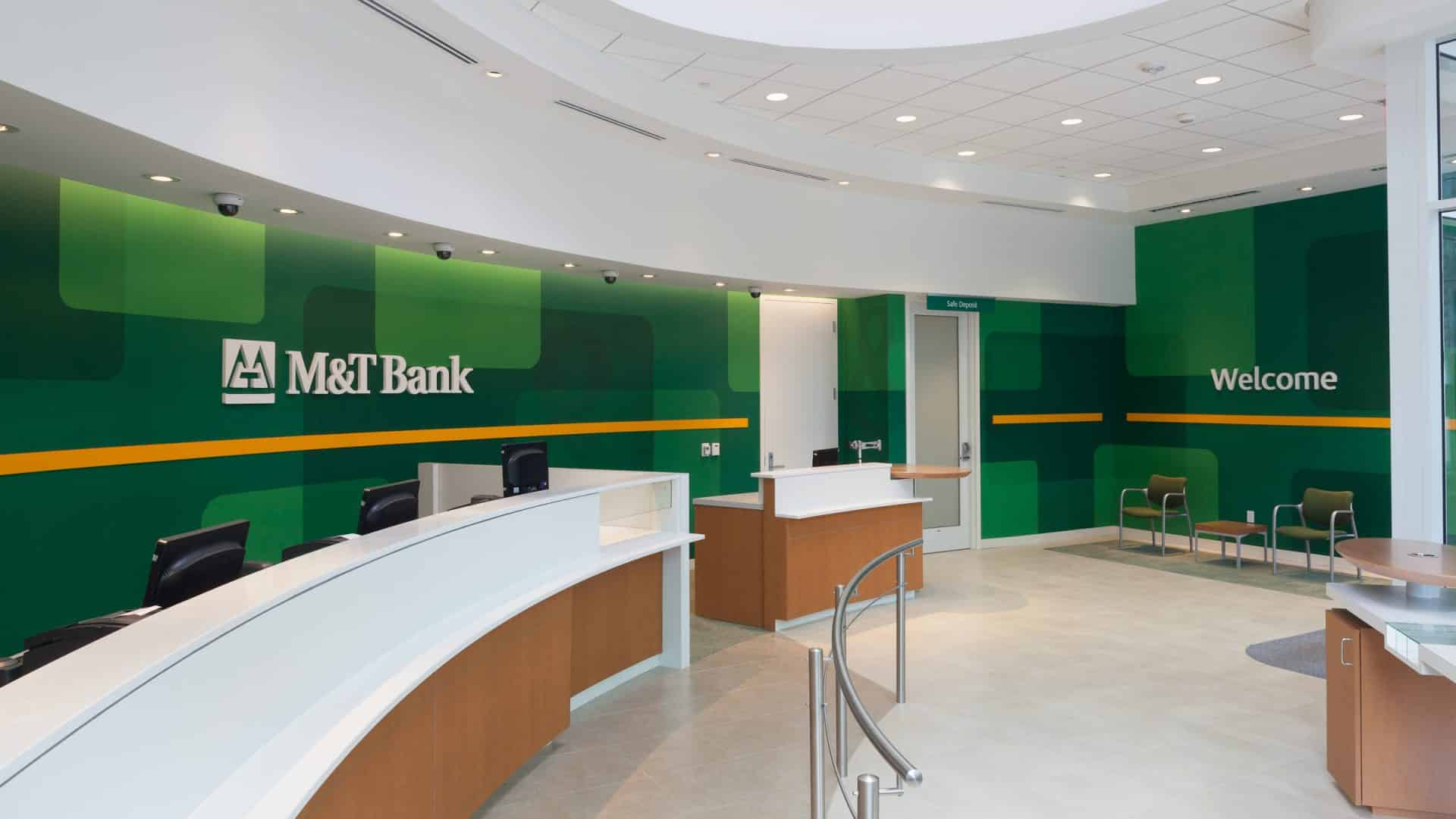 Interior view showing counter space - M&T Bank - LEED Consulting Project.