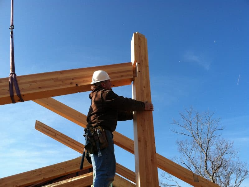 Timber Framing being installed.